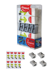 Maped 13-Piece Technic 600 Sharpeners & Erasers School Stationery Set, Grey/White