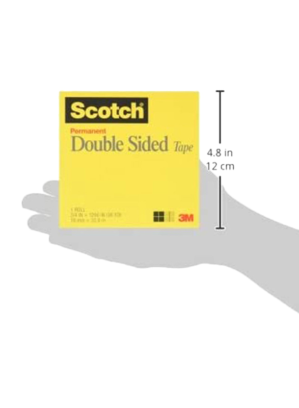 3M Scotch Permanent Double Sided Tape, 19mm x 32.92m, Clear