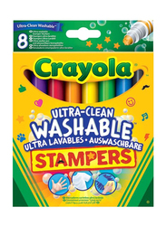 Crayola Ultra Clean Mini Stampers Marker Set, 8 Pieces, Multicolor