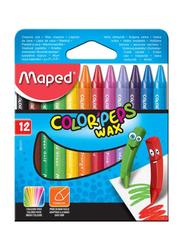 Maped Color Peps Wax Crayons Set, 12 Pieces, MultiColor