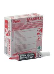 Pentel 12-Piece Maxiflo Chisel Tip White Board Marker Set, Red