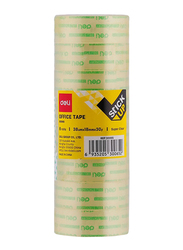 Deli Office Tape, 18mm x 30y, 8 Rolls, Clear