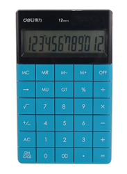 Deli 12-Digit Basic Calculator, Blue/Black