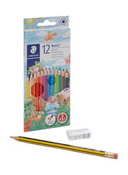 Staedtler 12-Piece Noris Erasable Coloured Pencil Set, Black/Green/Blue