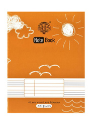 Horizon Four Lined Ruling Exercise Book, 200 Pages, A4 Size, Orange