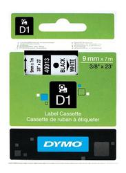 Dymo D1 Black Print on White Labeling Tape Cassette, 9 x 7mm, S0720680, Green