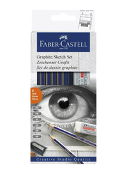 Faber-Castell 8-Piece Graphite Sketch Wooden Pencil Set, with Sharpener and Eraser, White/Grey/Purple