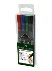 Faber-Castell 4-Piece Slim Permanent Marker Set, Multicolour
