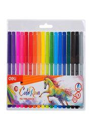 Deli 18-Piece Felt Pen Set, Multicolor