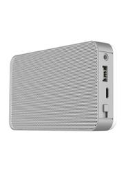 Memorii 4400mAh Bluetooth Speaker Power Bank, Silver/White
