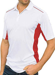 Santhome Sports Polo Shirt with UV Protection for Men, Double Extra Large, White/Red