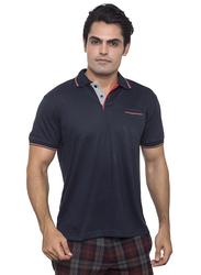 Santhome Tropikana DryNCool Polo Shirt for Men, Small, Navy Blue