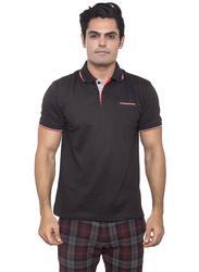 Santhome Tropikana DryNCool Polo Shirt for Men, Small, Black