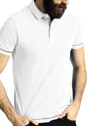 Santhome Short Sleeve Polo Shirt for Men, Medium, White