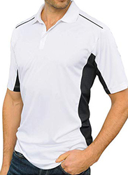 Santhome Sports Polo Shirt with UV Protection for Men, Double Extra Large, White/Black