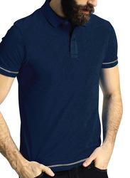 Santhome Short Sleeve Polo Shirt for Men, Medium, Navy Blue