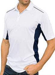 Santhome Sports Polo Shirt with UV Protection for Men, Double Extra Large, White/Navy Blue