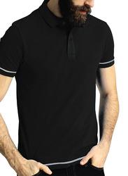 Santhome Short Sleeve Polo Shirt for Men, Medium, Black