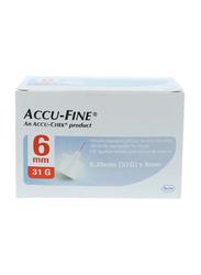 Accu-Chek Accu-Fine Pen Needles, 31G x 6 mm, 100 Pieces, White