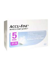 Accu-Chek Accu-Fine Pen Needles, 31G x 5 mm, 100 Pieces, White