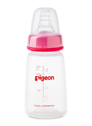 Pigeon Anti-Colic Standard Neck Nursing Feeding Bottle with Transparent Cap, 120ml, Red/Clear
