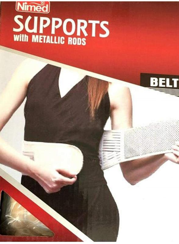 Nimed Waist Support Belt with Metaloc Rods for Women, Beige, Large