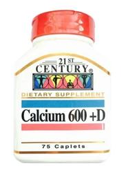 21St Century Calcium 600 +D, 75 Caplets