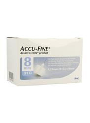 Accu-Chek Accu-Fine Pen Needles, 31G x 8 mm, 100 Pieces, White