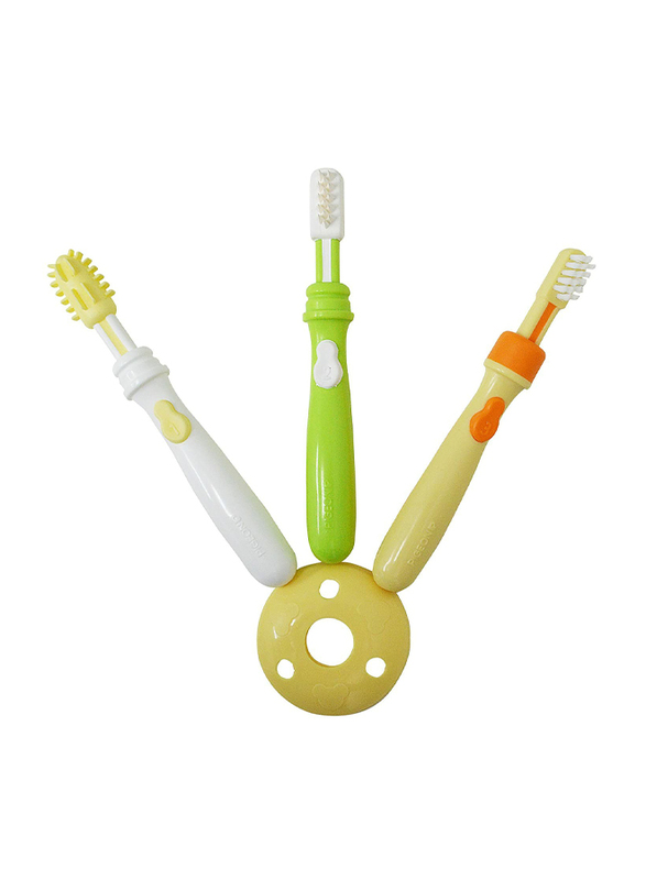 Pigeon 3-Piece K892 Trainer Toothbrush Level 123 Set for Kids, Multicolor
