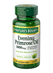 Nature's Bounty Evening Primrose Oil Herbal Supplement, 1000mg, 60 Softgels
