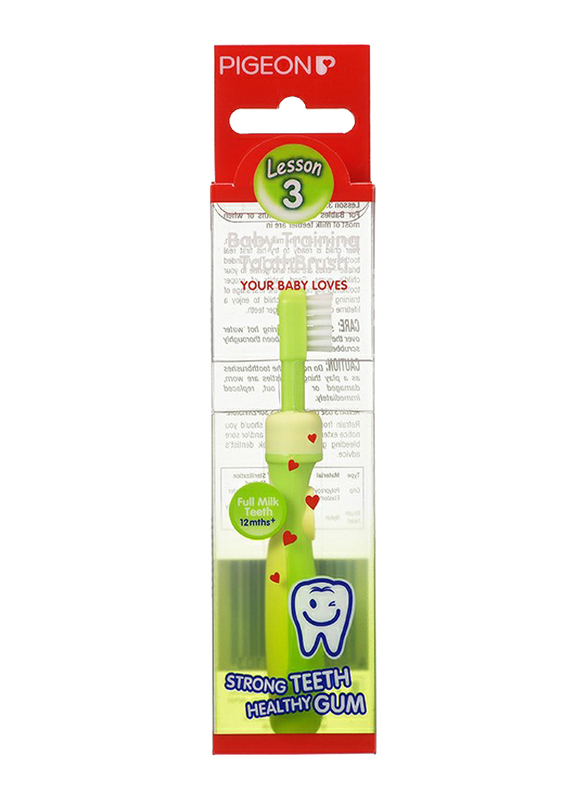 Pigeon K111 Training Tooth Brush Lesson 3 for Babies, Lime Green, 1 Piece