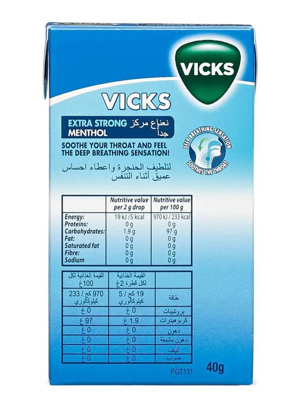 Vicks Extra Strong Menthol Drops, 40g