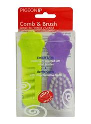 Pigeon K578 Comb & Brush set for Babies, Multicolor, 2 Pieces