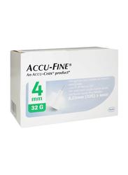 Accu-Chek Accu-Fine Pen Needles, 32G x 4 mm, 100 Pieces, White