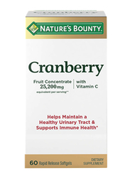 Nature's Bounty Cranberry with Vitamin C Supplements, 25.200mg, 60 Softgels