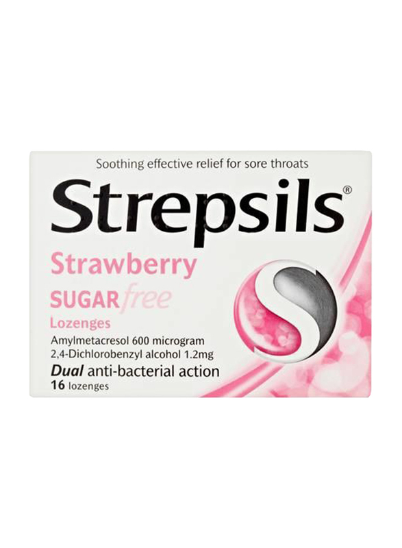 Strepsils Strawberry Sugar Free Lozenges, 16 Pieces