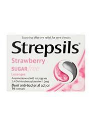 Strepsils Strawberry Sugar Free Lozenges, 16 Pieces