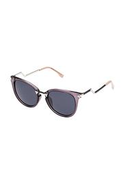 TFL Eyewear Polarized Round Full Rim Black Sunglasses for Women, Black Lens, DAL9134-A316-91-5, 54/19/136