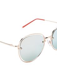 TFL Eyewear Polarized Oval Full Rim Gold Sunglasses for Women, Blue Lens, DDN284-C1-PB08, 55/17/142