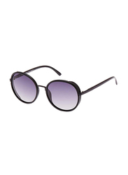 TFL Eyewear Polarized Round Full Rim Black Sunglasses for Women, Purple Lens, MT8548-10-P76-9, 56/20/142