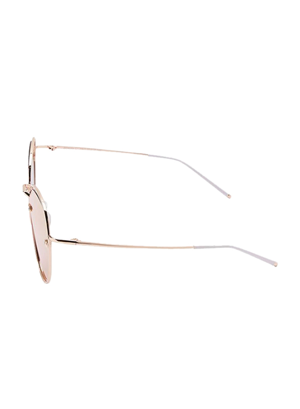 TFL Eyewear Polarized Oval Full Rim Gold Sunglasses for Women, Gold Lens, DDN284-C1-PB03, 55/17/142