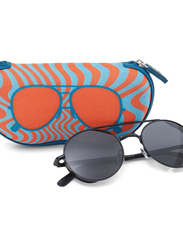 TFL Eyewear Polarized Round Full Rim Black Sunglasses for Women, Black Lens, MT8436-C18-91, 51/20/143