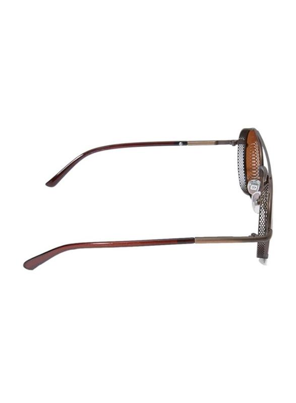 TFL Eyewear Polarized Round Full Rim Brown Sunglasses for Women, Brown Lens, MT8436-C48-90, 51/20/143