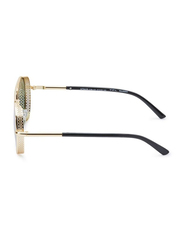 TFL Eyewear Polarized Round Full Rim Golden Sunglasses for Women, Green Lens, MT8436-C36-121, 51/20/143