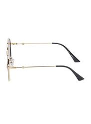 TFL Eyewear Polarized UV Protection Oval Full Rim Silver Sunglasses for Women, Gold Lens, 3665-SILVER, 55/12/130