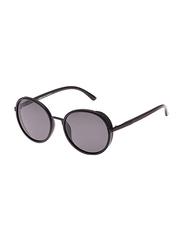 TFL Eyewear Polarized Round Full Rim Black Sunglasses for Women, Black Lens, MT8548-10-91-9, 56/20/142
