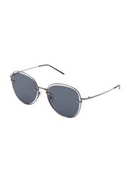 TFL Eyewear Polarized Oval Full Rim Black Sunglasses for Women, Black Lens, DDN284-C2-91, 55/17/142