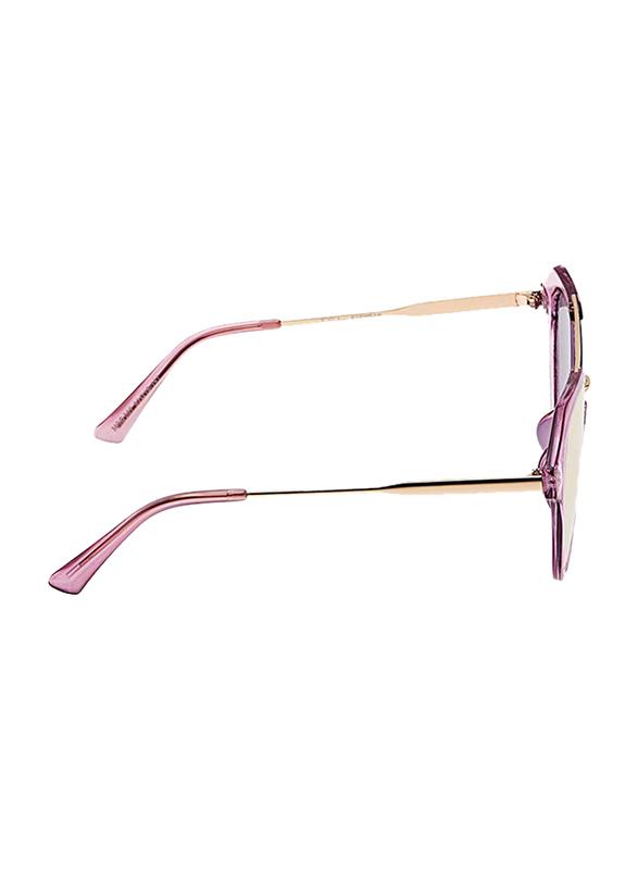 TFL Eyewear Polarized Round Full Rim Pink Sunglasses for Women, Pink Lens, MOD007-Pink, 53/18/141