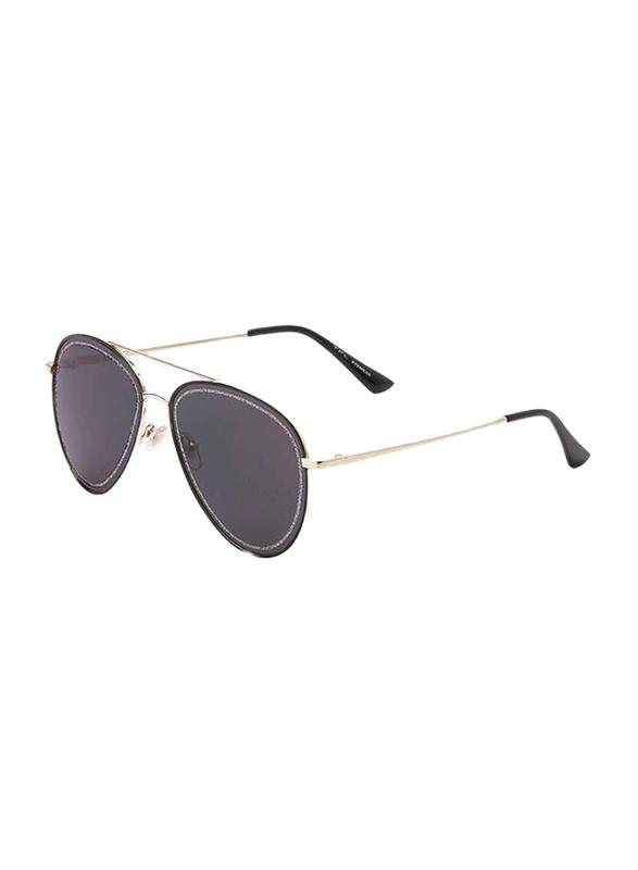 TFL Eyewear Polarized UV Protection Aviator Full Rim Black Sunglasses for Women, Gold Lens, 6198-Black, 52/15/135