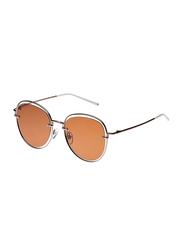 TFL Eyewear Polarized Oval Full-Rim Brown Sunglasses for Women, Brown Lens, DDN284-C8-90, 55/17/142